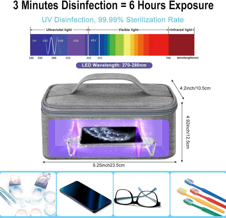ratones tel/éfonos m/óviles Caja de esterilizador UV port/átil LED bolsa r/ápida esterilizaci/ón 99,9/% adecuado para ropa interior desinfecci/ón autom/ática tablets vasos