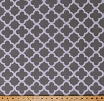 Amazon Com Fleece Gray Quatrefoil Design Tessellation Pattern Grey