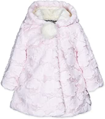 Widgeon Little Girls 3 Bow Faux Fur Coat with Hat