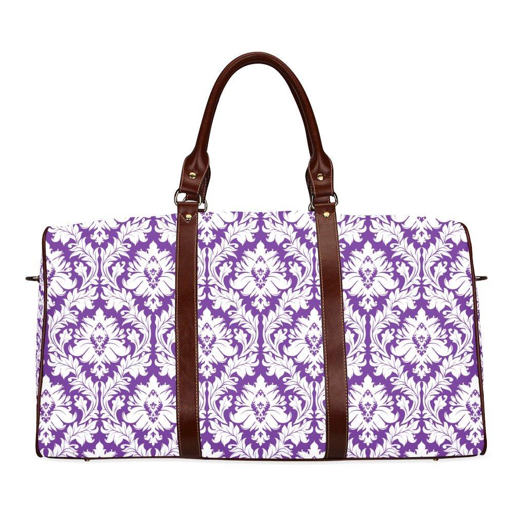 Damask Pattern Royal Purple And White Custom Waterproof Travel Tote Bag Duffel Bag Crossbody Luggage handbag