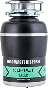 Garbage Disposals KUPPET 1/2 HP Food Waste Disposer with Power Cord 1700 RPM Continuous Feed Super Quiet&Easy to Install 38 OZ. Capacity Stainless Steel