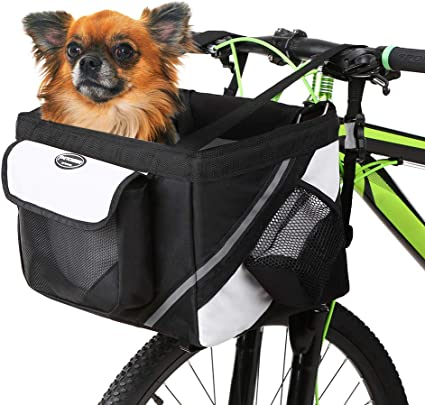 Front Bike Basket Bag Handle Foldable Bicycle Basket Small Pet Cat Dog Carrier