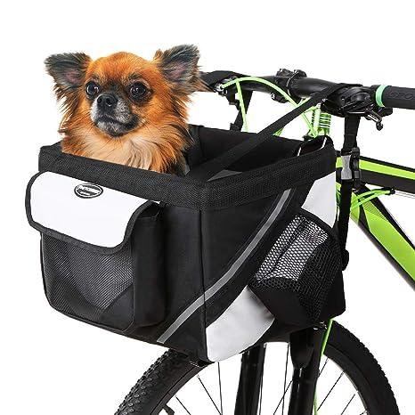 67148bd64ee2 Lixada Bicycle Basket, Pet Cat Dog Carrier Bike Handlebar Front Basket -  Folding Detachable Removable Easy Install Quick Released Picnic Shopping Bag