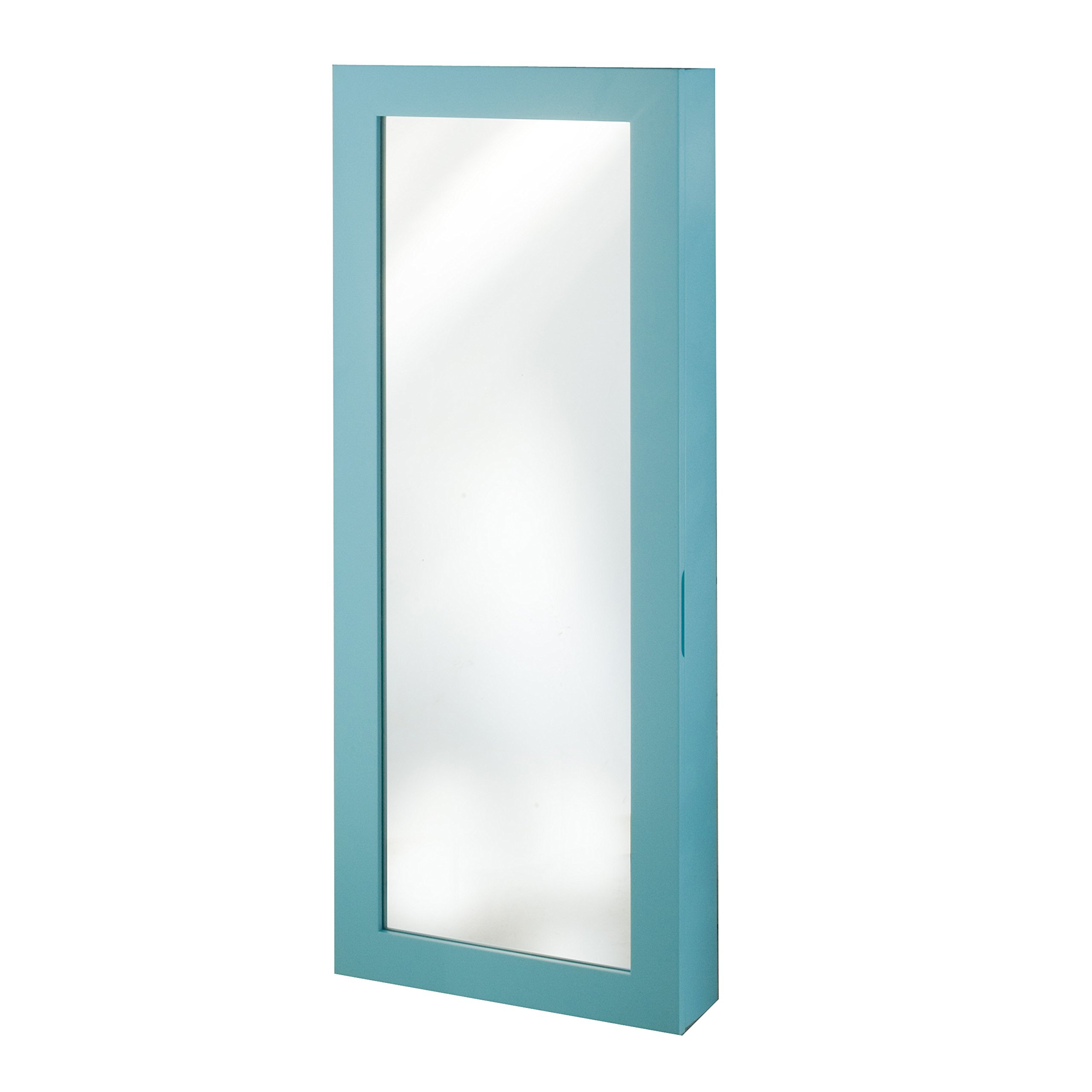 InnerSpace Luxury Products Space Saver Mirrored Jewelry Armoire, Turquoise