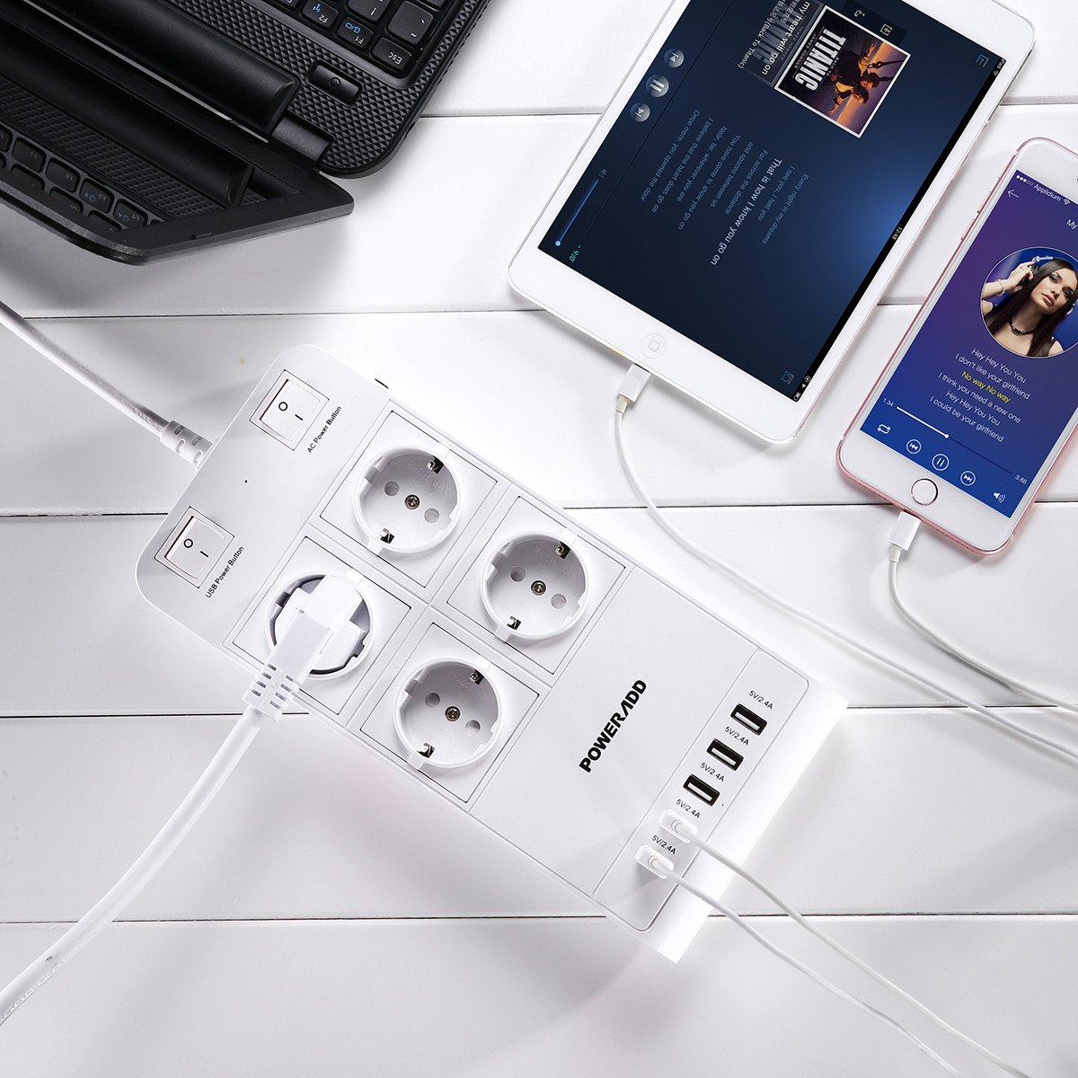 Poweradd Regleta de 4 Tomas con 5 Puertos de USB (5 de 2.4A ) con 2 Interruptor para iPhone,ipad y más Dispositivos cable 1.8m, Color-Blanco