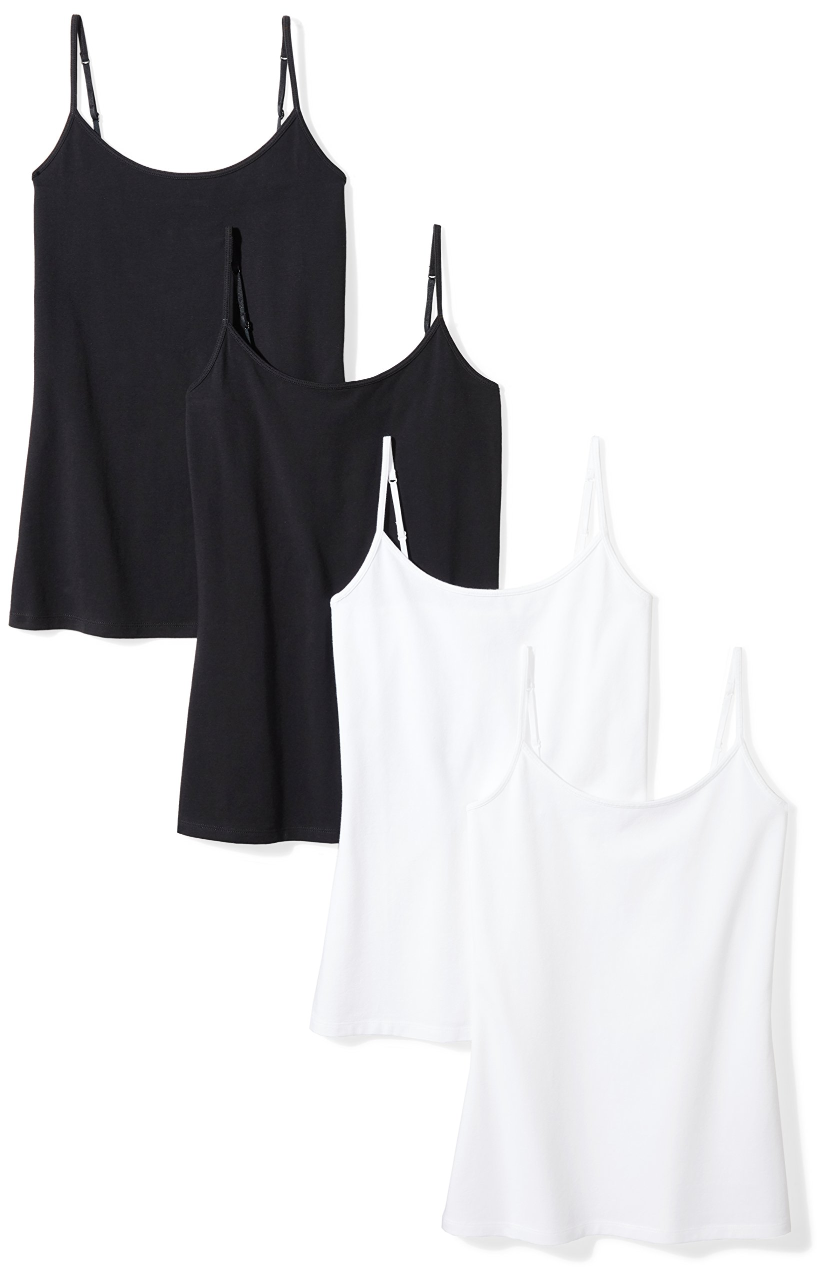 Amazon Essentials Women's 4-Pack Camisole, Black/Black/White/White, Small