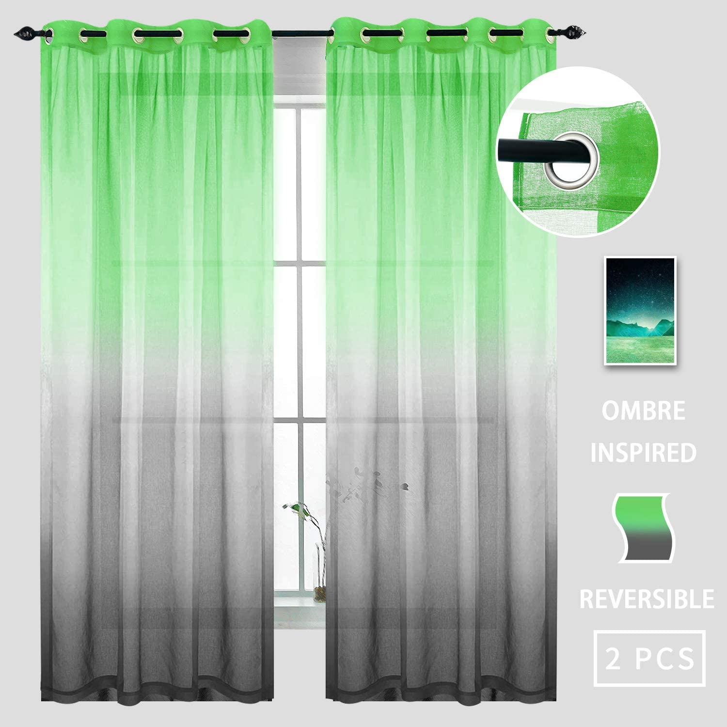 Gradient Curtains Green and Black 63 Inches Long for Bedroom 2 Panels Window Sheer Modern Luxury Stylish Curtains for Backdrop Stage Wedding Party Decoration Dorm Office Living Dining Room 63 inch