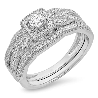 0.45 Ct Round Cut Real 14k White Gold Engagement Wedding Anniversary Band Ring