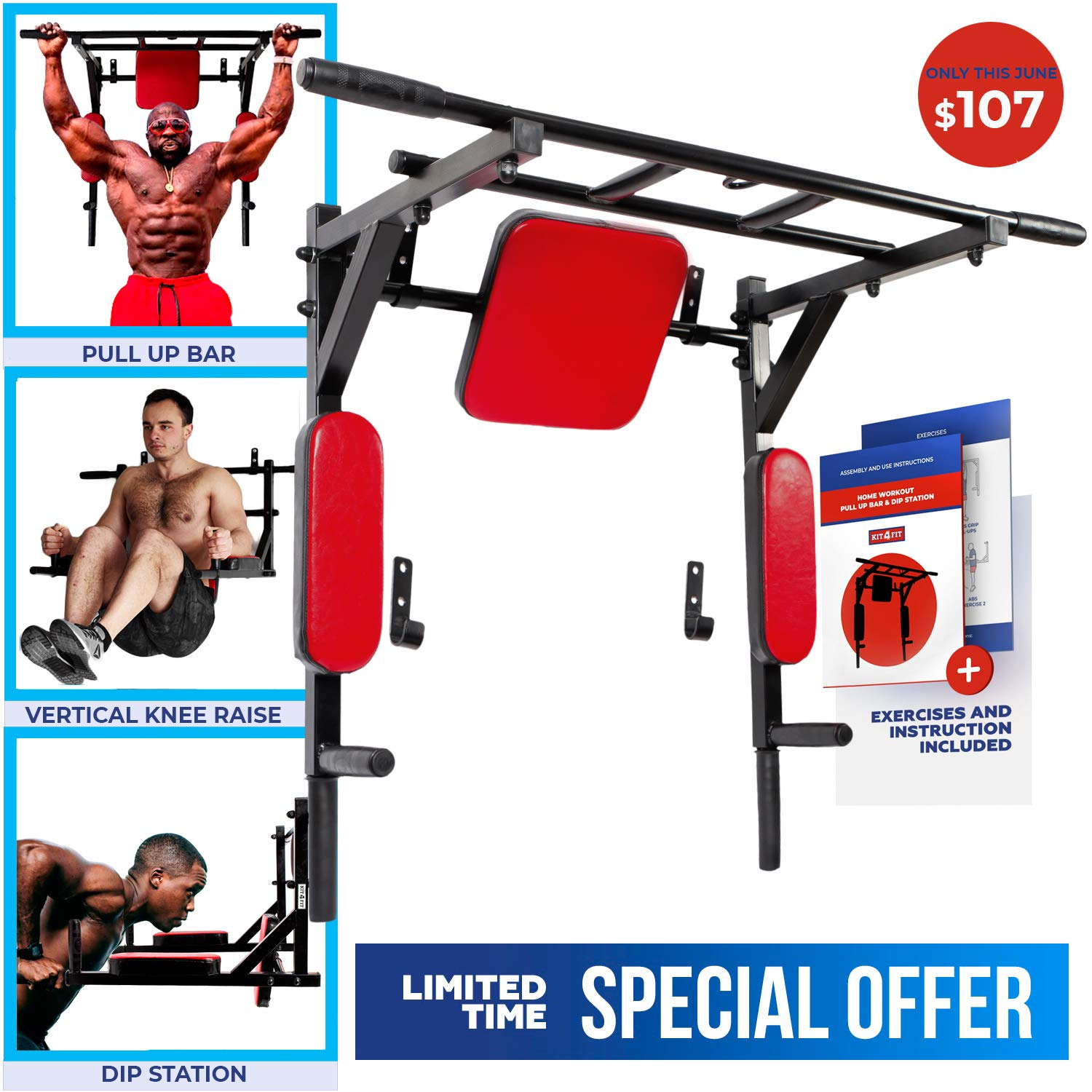 Wall Mounted Pull Up Bar and Dip Station with Vertical Knee Raise Station Limited TIME Special Price Indoor Home Exercise Equipment for Men and Woman Great for Workout and Fitness (Red)