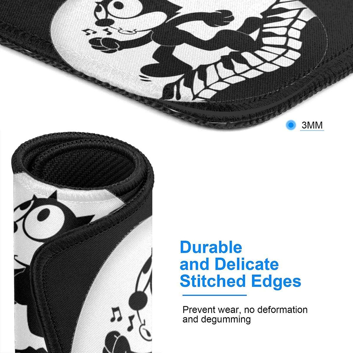 Felix The Cat Comfortable and Wearable Rubber Computer Mouse Pad Precision Locking Non-Slip for Laptop Office Home Game