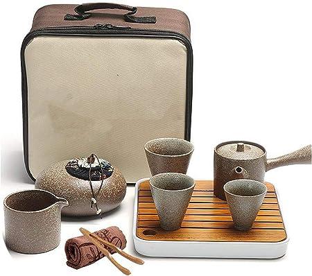Juego de té portátil Kungfu para viajes al aire libre, oficina, de porcelana china de uso sencillo, juego de té chino, caja de regalo verde claro: Amazon.es: Hogar