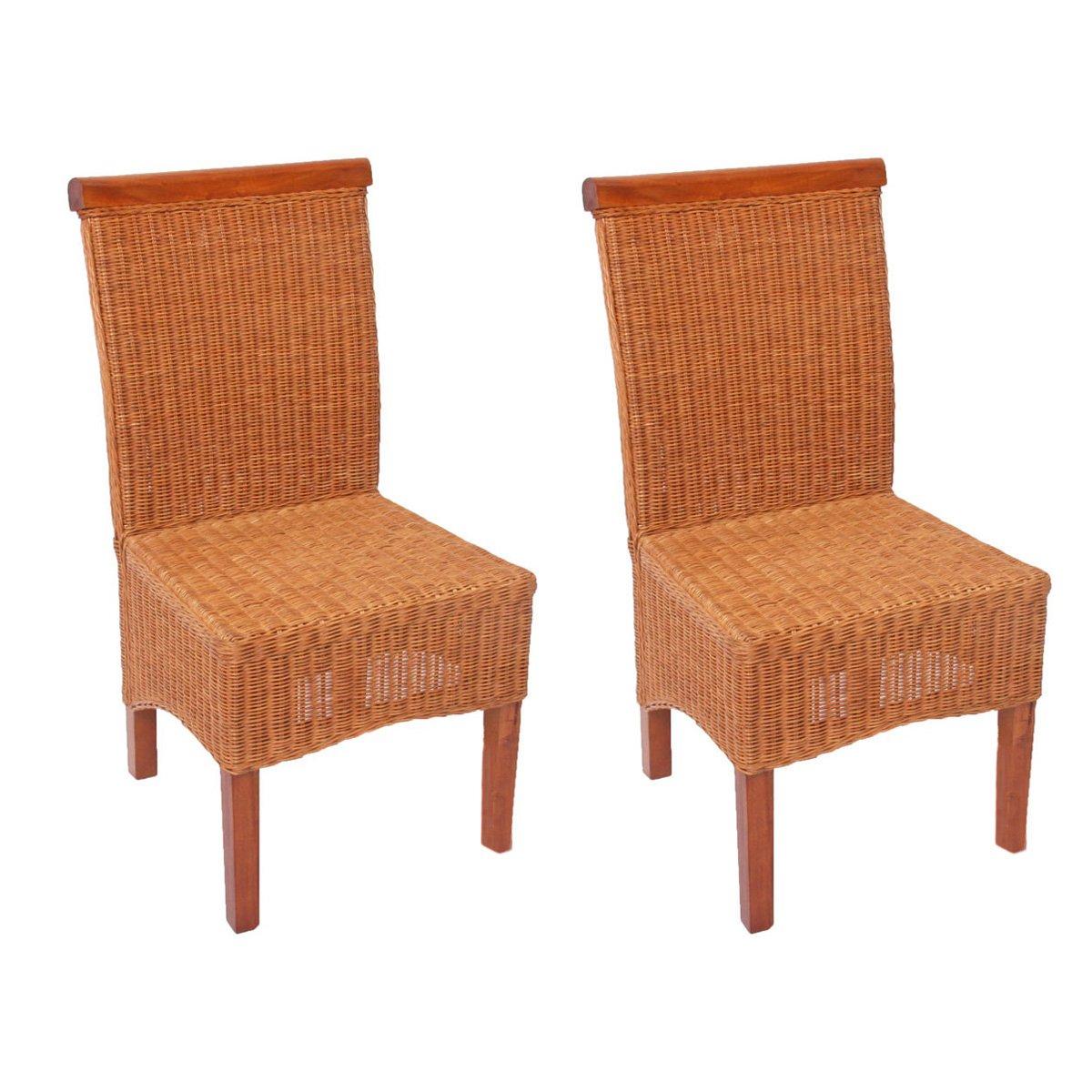 Mendler 2x Esszimmerstuhl Korbstuhl Stuhl M42, Rattan Rattan Rattan  ohne Sitzkissen 9c2bf9