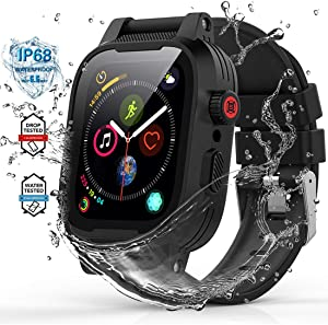 YOGRE Waterproof Case for Apple Watch Series 6/5/4/SE 40mm, IP68 Waterproof Shockproof Impact Resistant Apple iWatch Full Body Protective Cases with Built-in Screen Protector Give 2 Soft Watch Band