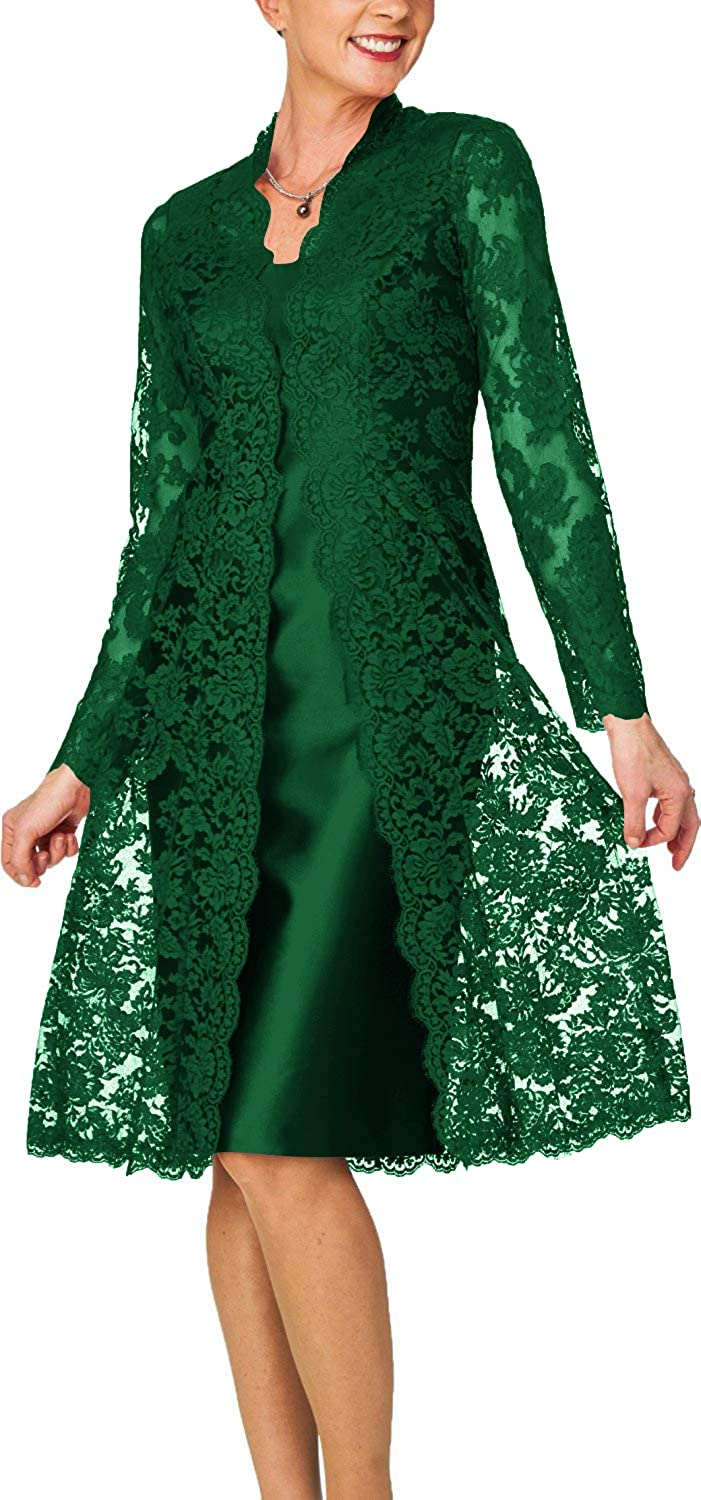 Dark Green H.S.D Women's Sheath Short Satin Mother of The Bride Dress with Lace Jacket