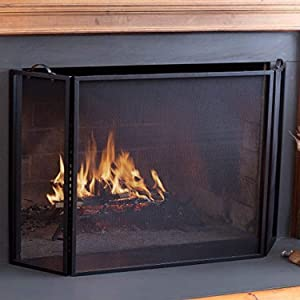 Plow & Hearth 3 Panel Flatguard Fireplace Screen, 50
