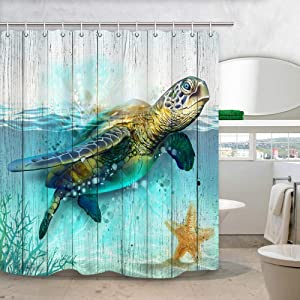 DYNH Sea Turtle Shower Curtain for Bathroom, Underwater World Ocean Animal Sea Tortoises Coral and Aquatic Plant on Rustic Wooden Boards Bath Curtains (69'' W by 70'' L)