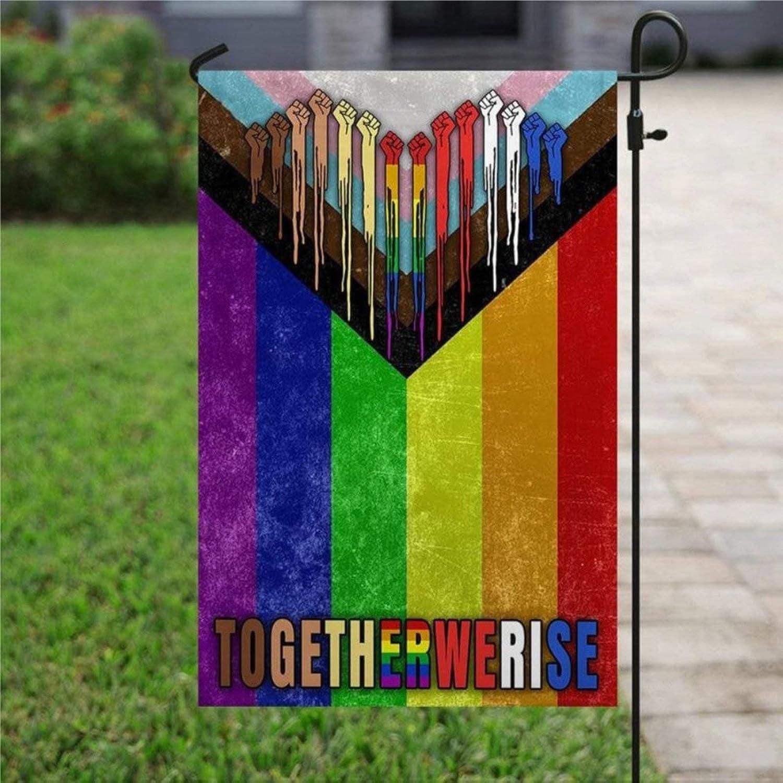 "Garden Flag LGBT Flag, Togetherwerise, BLM Flag, No Human is Illegal Yard Decor House Decor Flag Seasonal Banners for Patio Lawn Outdoor 12x18"""