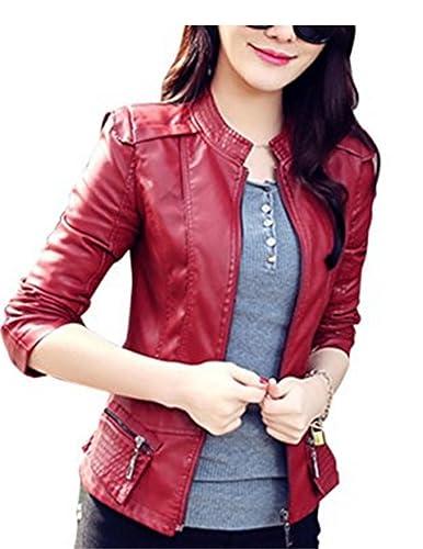 YOGLY Chaqueta de Mujer Moto Chaqueta de Cuero PU Casual Corto Outwear Otoño Jacket Traje de Chaquet...