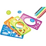 7TECH Drawing Stencils Set C- Perfect Travel Activity and Creativity Kit with over 90 Shapes Ideal Kids Gifts Educational Toys for 3+