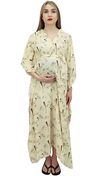 Bimba Maternidad Palido Maternidad Kimono Manga Kaftan enfermeria Maxi vestido-48