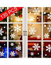Tuopuda 135 pcs White Snowflakes Window Clings Decal Stickers Christmas Winter Wonderland Decorations Ornaments Party Supplies-Original Reusable Static PVC Stickers(15 Sheets)