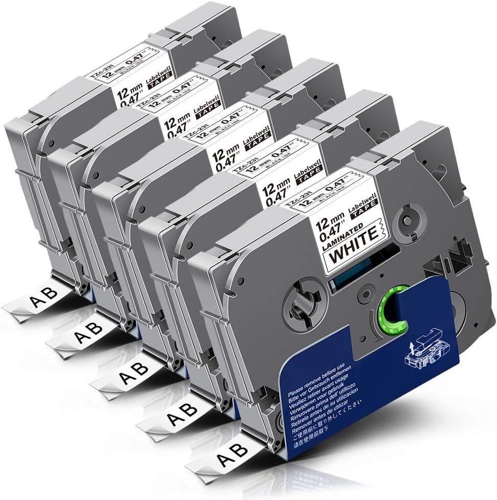 12mm x 8m Nero su Bianco Nastro laminato compatibile per Brother P-Touch PT-1000 1005 1010 9600 D200 D210 D210VP D600VP E100 E550WVP H101C H105 H110 H300 H500 P700 P750W Etichettatrici 2 x TZe231