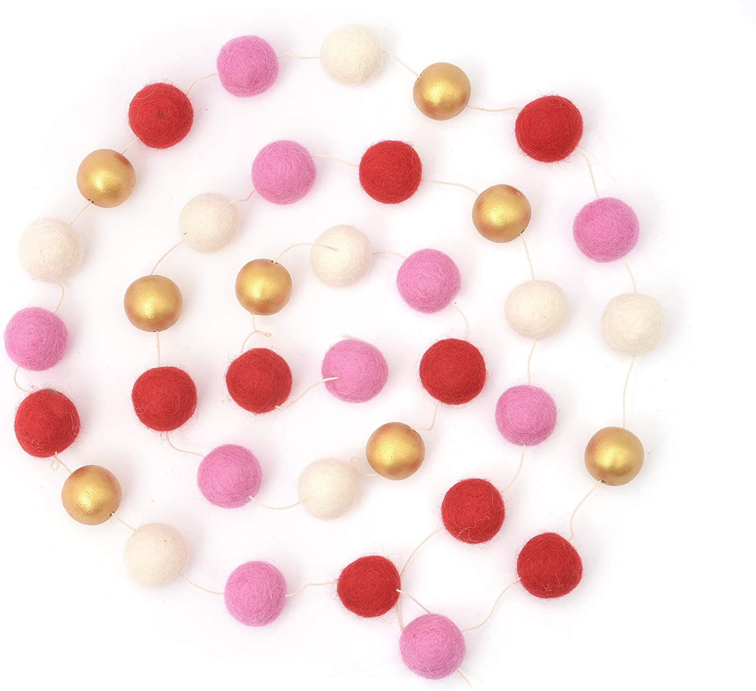 Glaciart One Felt Ball Garland - 10-Foot Decorative Wool Wall and Window Home Decor - Red, Pink, White and Gold for Christmas, Valentines, Wedding, Birthday, Baby Shower Party - 39 Balls