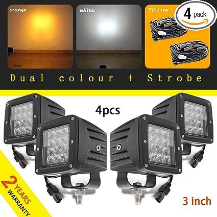 17fe7fd531346 3 Inch led work light double colors square strobe light fog light white  yellow beam 2PCS