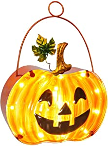 Halloween Pumpkin Lamp, Fall Decor Pumpkin Lantern with Timer, Hanging Decorative Lamp, Halloween Party Gift Light Up Home Lanterns Halloween Thanksgiving Decoration , Battery Operated (8.5 inches)