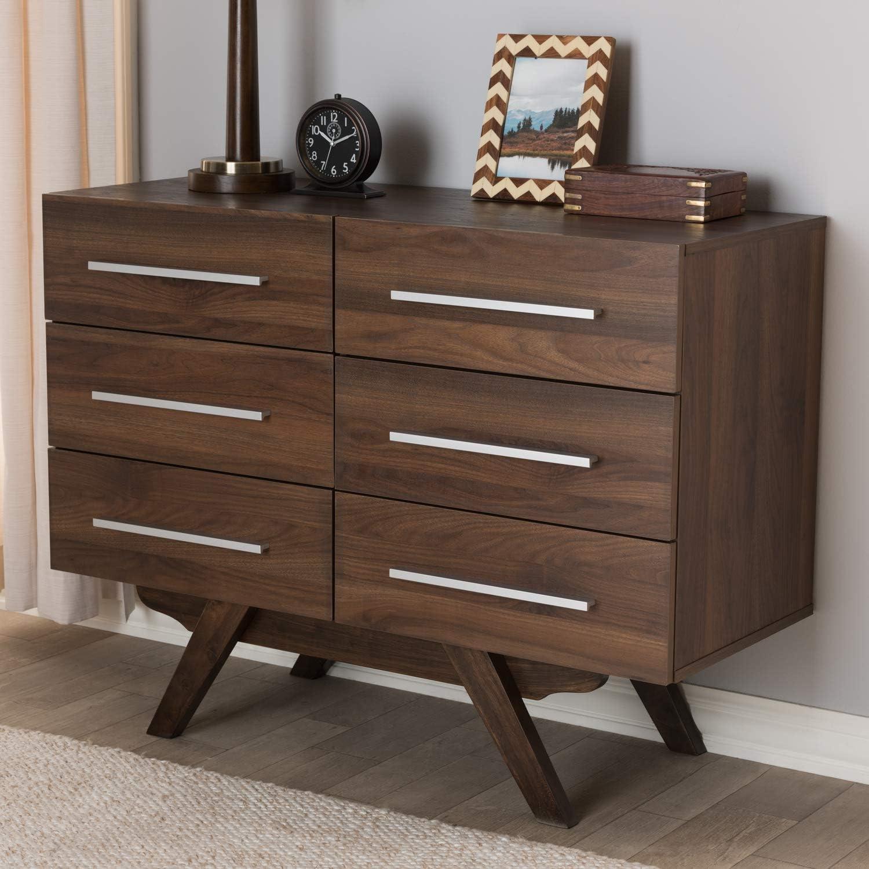 Baxton Studio Auburn 6 Drawer Double Dresser In Brown Furniture Decor