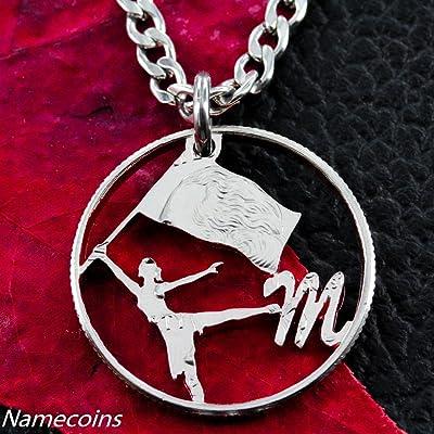 Color Guard Cut out Monogram Personalized Necklace