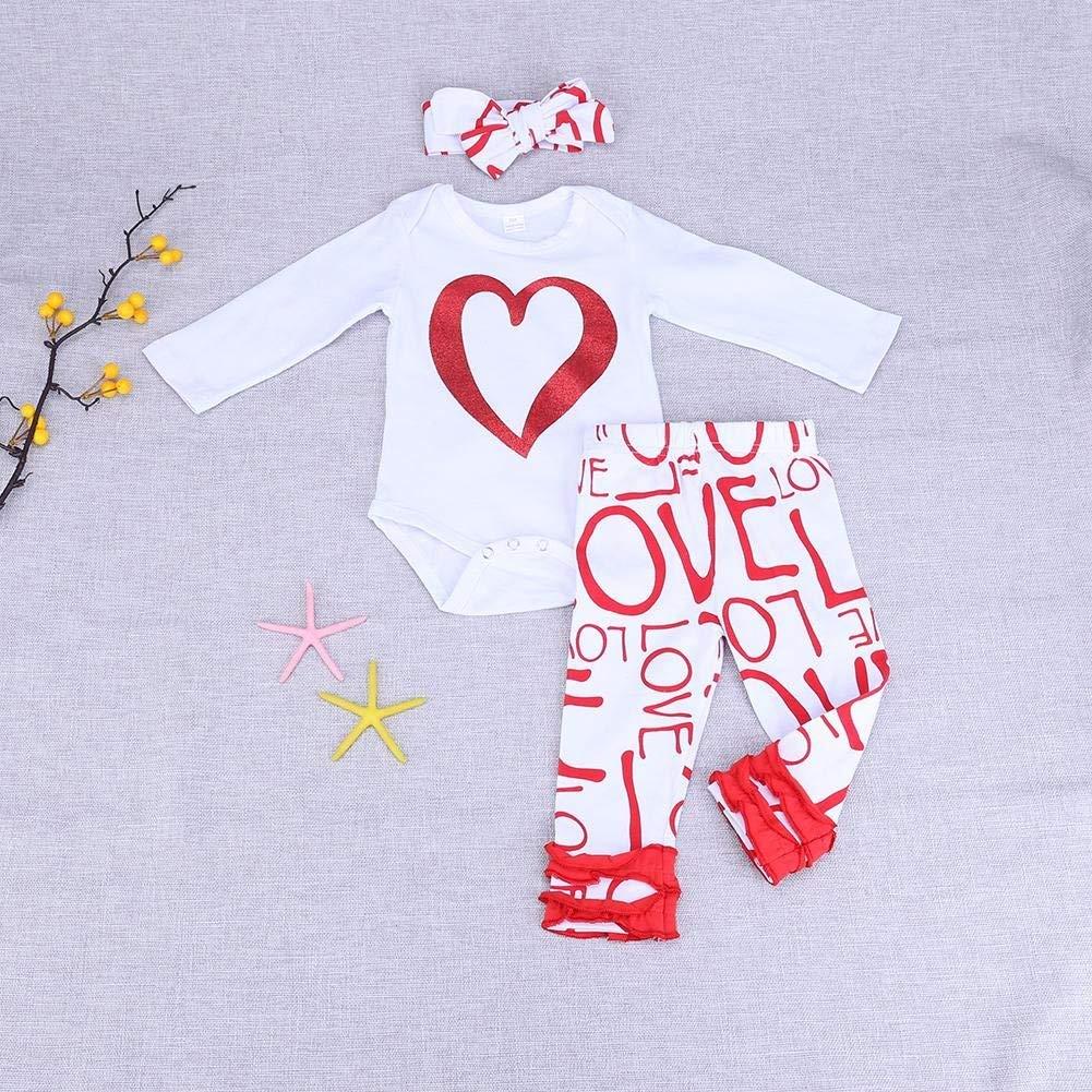 AFfeco 3pcs Newborn Girl Baby Love Print Long Sleeve Romper Pants Headband 100cm