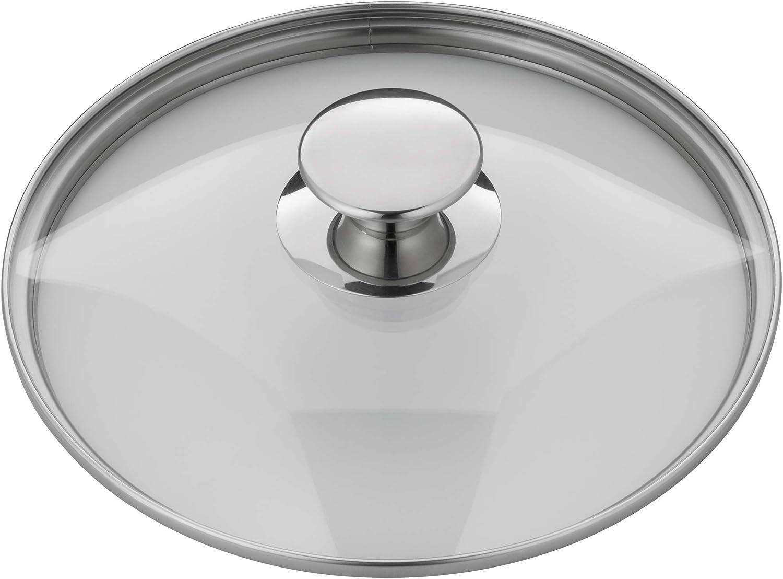 sp/ülmaschinengeeignet hitzebest/ändiges Glas Silit Pisa Glasdeckel Topfdeckel mit Metallgriff 24 cm