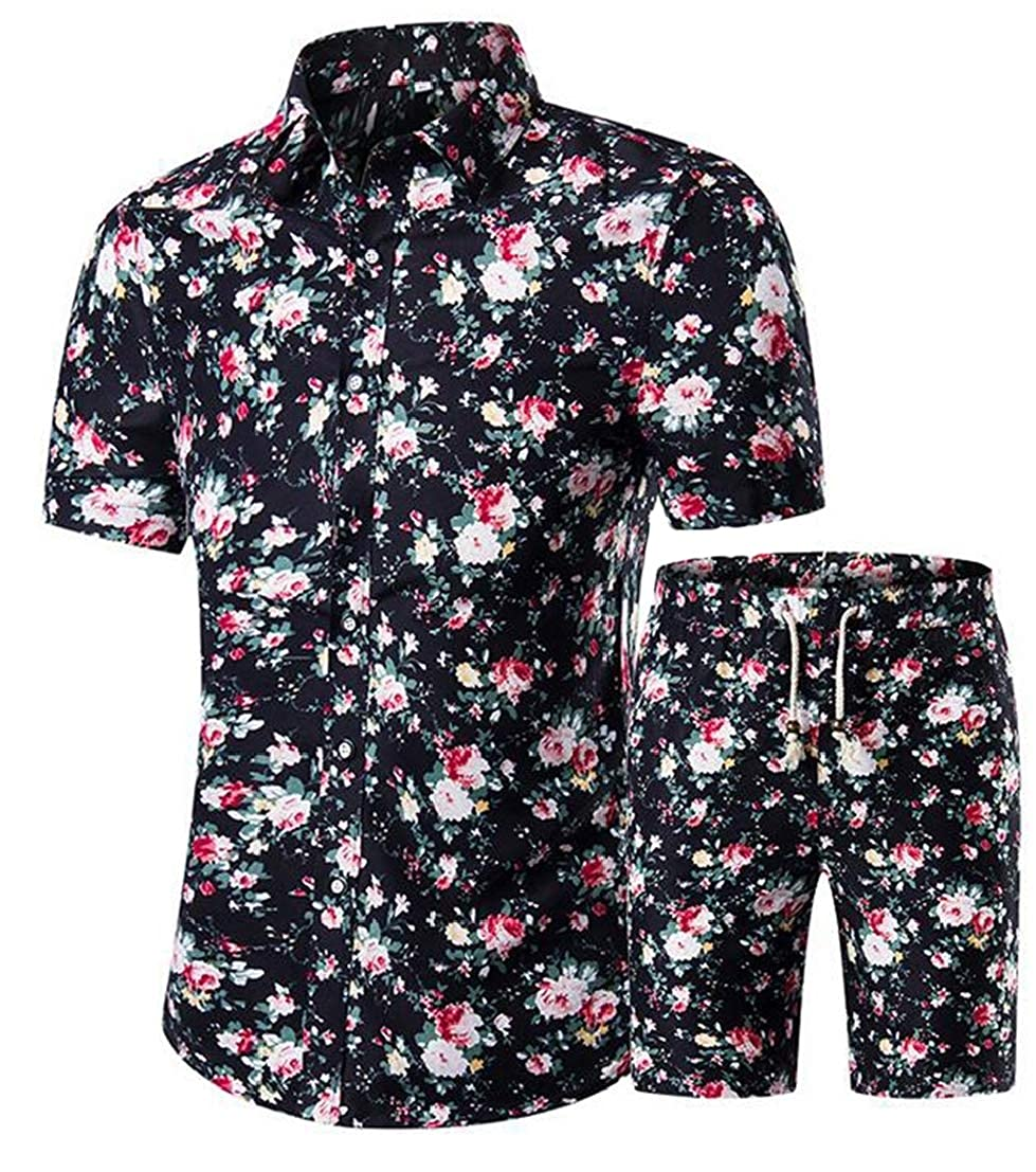 UUYUK Men Short Sleeve Slim Fit 2 PCS Outfits Printed Big and Tall Shorts Tracksuits