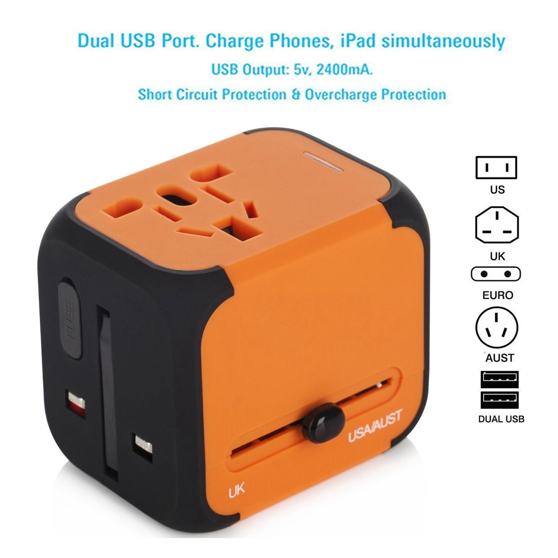 Travel Adapter Elektrische Stecker Sockets Converter mit Dual USB Ladekabel 2,4 A LED-Betriebsanzeige Elektrische Stecker International Travel Plug Adapter Laden blau