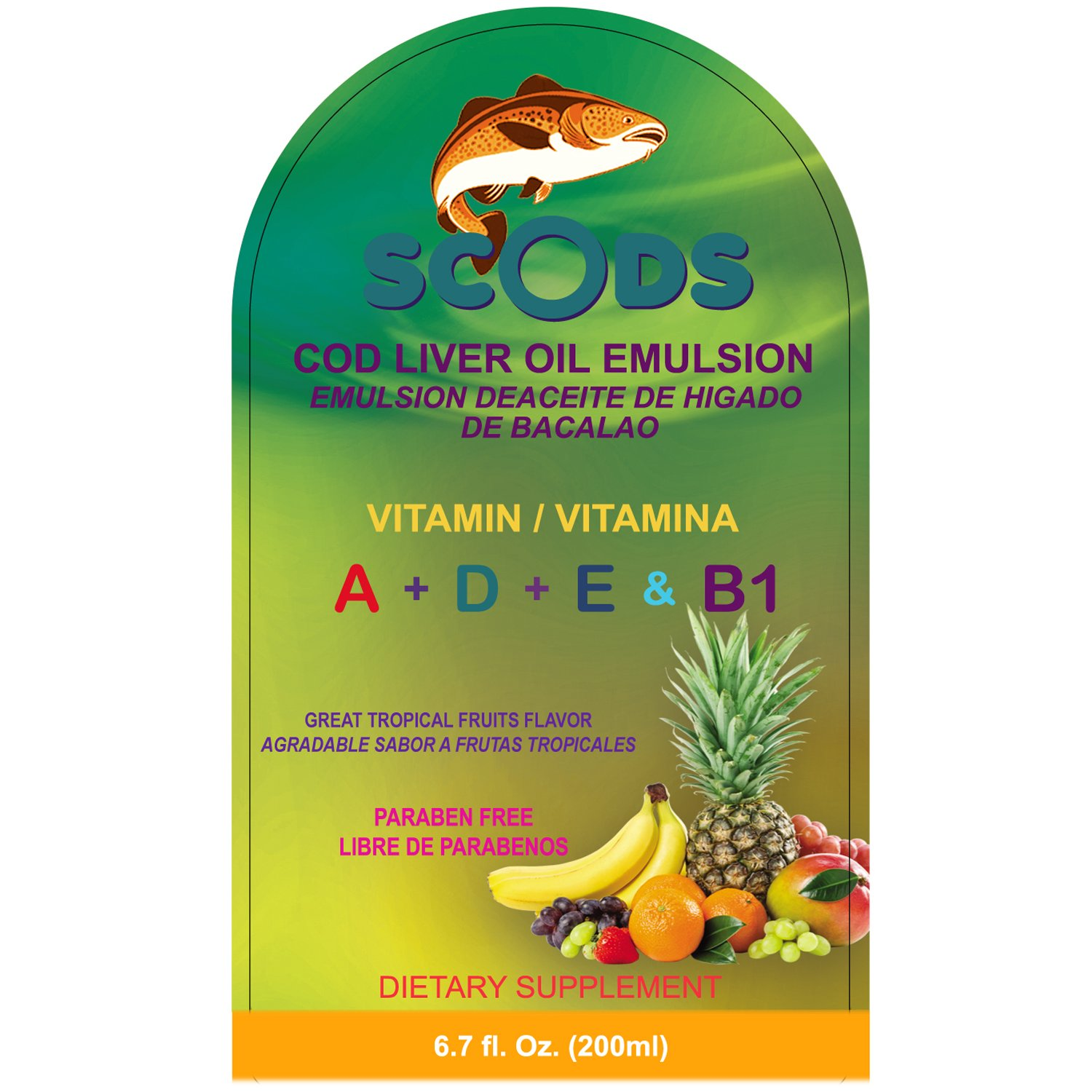 Amazon.com: Emulsion de Scods Frutas Tropicales Cod Liver Oil Emulsion Tropical Fruits 200ml Vitamin A + D + E & B1: Health & Personal Care