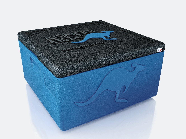KÄNGABOX Easy S, EY1265BU blau, innen Ø 35 cm, außen 410x410x330 mm, Inhalt 32 l. Thermobox für Pizza, Kuchen und Torten. Stabile, leichte, stapelbare Kühlbox. Für Catering, Konditorei und Lieferservice.