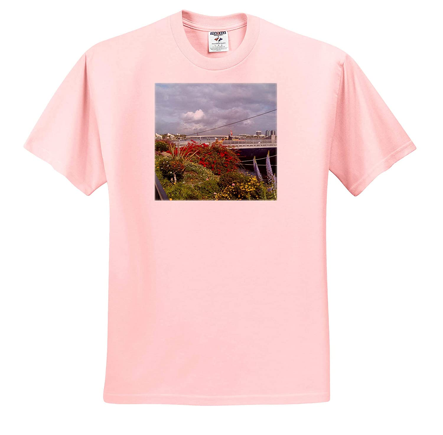 T-Shirts Queen Mary Scenery Outside The Queen Mary on California Pretty Flowers and Water 3dRose Jos Fauxtographee