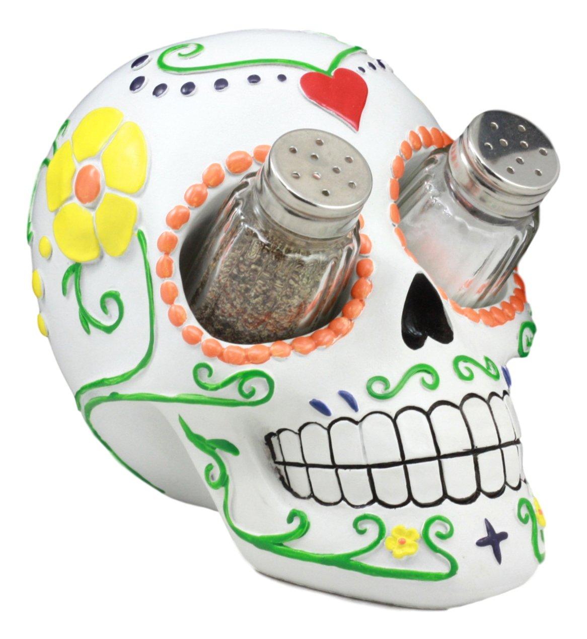 Ebros Day of The Dead Tattoo White Sugar Skull Salt And Pepper Shakers Holder Figurine Romantic Skull Kitchen Decor