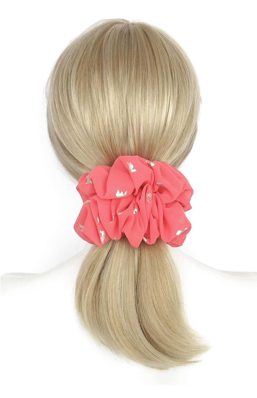 Pink Rose Hair Scrunchies Sparkly Golden Birds Print Fancy Large Big Soft Chiffon Ponytail Holder