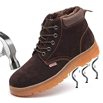 16fa9fcdcf1 SUADEEX Womens Mens Safety Trainers Shoes Work Boots Steel Toe Cap Hiker  Ankle Leather Waterproof Safety Boots Fur Lined Snow Boots Unisex  Amazon.co .uk  ...
