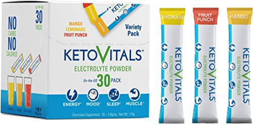 Keto Vitals Electrolyte Powder Stick Packs Keto Friendly Electrolytes in Travel Packets Keto Electrolytes Variety Pack Individual Packets Energy Drink Mix Zero Calorie Zero Carb