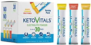 Keto Vitals Electrolyte Powder Stick Packs | Keto Friendly Electrolytes in Travel Packets | Keto Electrolytes Variety Pack Individual Packets | Energy Drink Mix | Zero Calorie | Zero Carb
