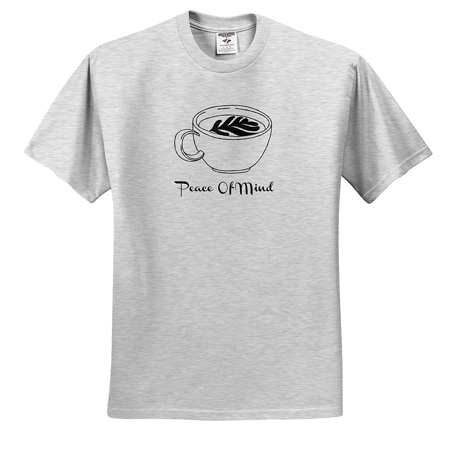 ts/_321053 3dRose Carrie Quote Image Image of Coffee Cup with Quote Peace of Mind Adult T-Shirt XL