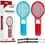 マリオテニスエースに対応テニスラケット Nintendo Switch Joy-Con用 アタッチメント ラケット型アタッチメント 超軽量ABS製 マリオテニス ラケット 臨場感 マリオテニスAceゲーム ハンドストラップ付き ブルー・レッド2点セット