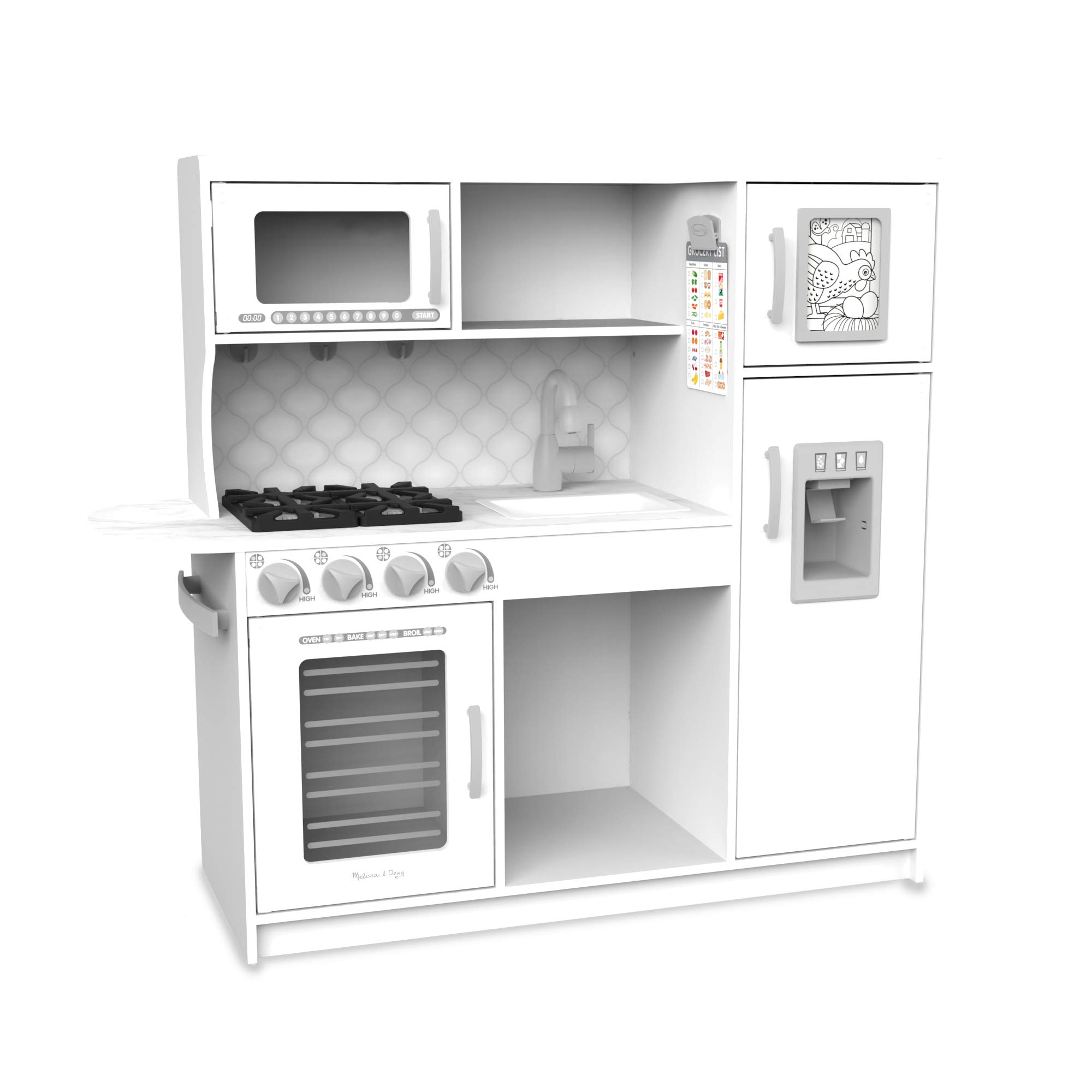 Melissa & Doug Wooden Chef'S Pretend Play Toy Kitchen with ''Ice'' Cube Dispenser - Cloud White by Melissa & Doug