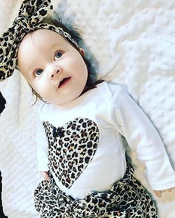 feiXIANG Ropa de bebé recién Nacido niña niño Primavera otoño bebé niña Mono Blusa de Navidad + Falda de Leopardo + Banda de Pelo Conjunto de Ropa: Amazon.es: Electrónica