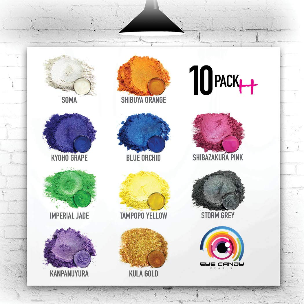 Eye Candy Mica Powder - Pigment Powder 10-Pack Set H - Colorant for Epoxy - Resin - Woodworking - Soap Molds - Candle Making - Slime - Bath Bombs - Nail Polish - Cosmetic Grade - Non-Toxic