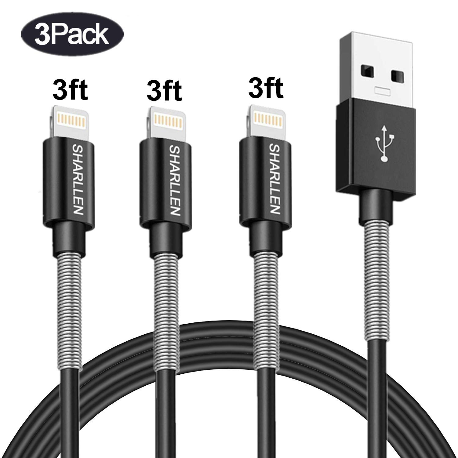 Lightning Charger Cable SHARLLEN MFi Certified Spring iPhone Charger Cable 3FT 3Pack Short iPhone Data Cable Wire USB Fast iPhone Charging Cord Compatible iPhone XS/MAX/XR/X/8/7/6/5/iPad/iPod(Black)