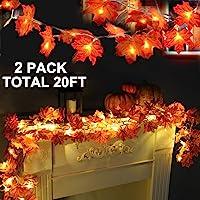 2 Pack Thanksgiving Lights Fall Maple Leaves String Lights Thanksgiving Decorations, Total 20 Ft & 40 LED Maple Leaves…